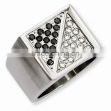 Stainless Steel Black and White Diamond Ring
