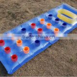 PVC inflatable air filled colorful mattress float /inflatable air mattress with colorful pot for water sports