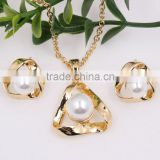 Fashion Bridal Costume Jewellry Triangle Gold Faux Pearl Necklace Earrings Wedding Jewelry Set