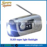 (Factory direct) Dynamo Emergency Solar Hand Crank Self Powered FM Radio, 2000mAh Power Bank & LED Flashlight, Support TF card