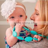 Soft Baby Chewable Necklace Fashion Cord Beads Jewellery Silicone Teething Necklace Wholesale