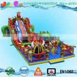 dinosaur inflatable trampoline,dino air jumping bouncer with tunnel slide and amusement games for children