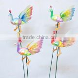 5 Inch Pearl Powder Plastic Peacock Garden Ornament Bird