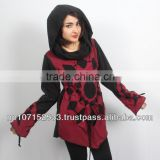 SHW175 cotton jersey cut work design in polar fleece wider hood pullover sweater price 800rs $8.42