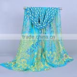 2016 New Designer Peacock Printed Chiffon Scarf Factory In China (FA1098)