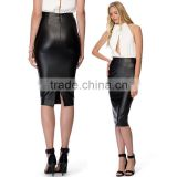 Women's Pu Leather Pencil Knee Slit Skirt OEM ODM Type Clothes Factory Guangzhou Customization supplier