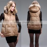 Brown vest for winter &quilted vest for women hot selling 2016