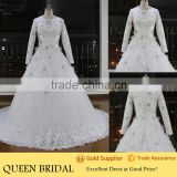 Newest Design High Neck Long Sleeve Appliqued Lace Crystal Beaded Long Train Luxury Muslim Wedding Dress