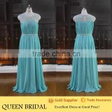 Real Sample Sleeveless Floor Length Blue Chiffon Plus Size Evening Dress                                                                         Quality Choice