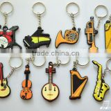 2015Shanghai Music China Fair Differents designs music instrument shape silicone keychain.