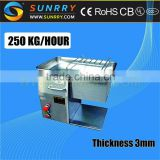 Cooked meat cutter thickness 3mm blade meat cutter production 250 Kg/Hour frozen meat cutter for CE (SY-MC250 SUNRRY)                                                                         Quality Choice