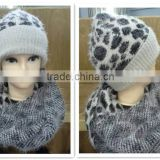 Acrylic Knitted Leopard Pattern Hat and scarf sets