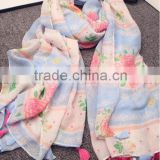 wholesale Plain flower printed kerchief women viscose popular hijab fashion muslim headband autumn pashmina/scarves