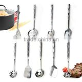 High quality Stainless Steel Kitchen Cooking Utensils With Bamboo Joint Shaped Handle With FDA LFGB Certification