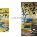fake gold similar real gold glass mosaic hand cut background blue river and tree art glass tiles mosaico mural wall decorative