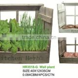 indoor wooden kitchen herb window planter pot with soil/vermiculite/growing medium and herb seeds