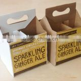 custom printed cardboard 4 pack beer holder with silver stamping logo design