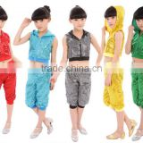 Hotsale sleeveless boys girls Ballroom kids Jazz dance costumes with hood sequin
