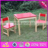 2016 new design home / school / kindergarten red solid wooden toddler table and chairs W08G134