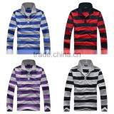 2016 Factory sale brand classic pure Cotton mens striped polo shirt Long sleeve contrast color design sport shirts for man
