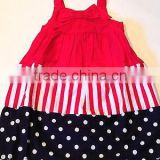 latest party wear dresses for girls 4TH OF JULY Red White Blue Dress western party wear stripe& dot dresses