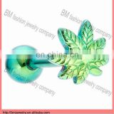 anodized titanium green leaf body jewelry custom free sample tongue rings body piercing jewelry