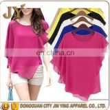 Multi-color Plus Size Ladies Chiffon Blouses Batwing Sleeve Ruffles Blusas Women Tops China Wholesales Apparel