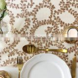 "SQN#73 132"" round rose gold embroidery fabric sequin table cloth metallic"