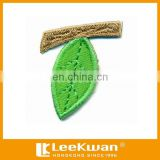 Green Leaf Fabric Tajima machine Aqqlique Embroidery Badge For Decoration