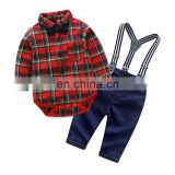 Spring Cotton Gentleman Baby Boys Clothes Clothing Sets Plaid Long Sleeve Bow tie Shirt Rompers Suspenders Pants Xmas Outfits