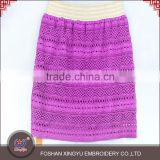 OEM Custom shaped ladies L size fashion designs hollow weave hem purple short skirt for beautiful girl                                                                                                         Supplier's Choice