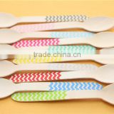 2014 New Disposable Printed Mini Flat Wooden Spoons for Ice Cream Yogurt Kid's Party Wedding