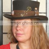 NEW 2015 FASHION BROWN BULLET AND KEY LEATHER TOP HAT GENUINE LEATHER TOP HAT FOR MENS,WOMENS