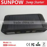 sunpow 2015 best car accessory solar energy emergency power 12000mah lithium battery 12v car jump starter with Air compressor