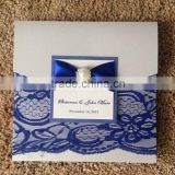 Hot sale elegant navy lace wedding invitations with label papers & pearl decoration                                                                         Quality Choice