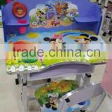 cartoon design wood kids study table and chair/wooden kids study desk