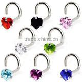 L shape heart CZ nose ring