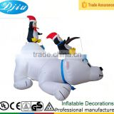 DJ-XT-48 Illuninate Inflatable Polar Bear with Fishing Penguins Outdoor Christmas Display