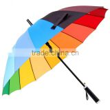 Promotional High Quality Auto Open Straight Rainbow Umbrella, Fashion 16 K Colorful Rainbow Golf Umbrella                                                                         Quality Choice