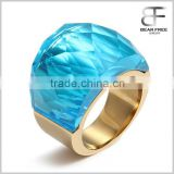 Stainless Steel Ring Super Sized Crystal for Promise Engagement Wedding Multicolor Option