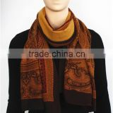 Classical Flower Printed Light Wool Scarf