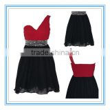 Actual Design Lovely One Shoulder Double Two Colors Black And Red Chiffon Short Beads Bridesmaid Dresses (AC-1008)