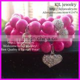 KJL-BD5234 Wholesale Breast Cancer Awareness Ribbon Heart Bracelet Pink Crazy Lace Agate Beaded Womens Healing Stones
