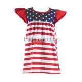 Wholesale Independence day children patriotic dress red and white blue chevron baby girl frock fancy smocking dress for kids