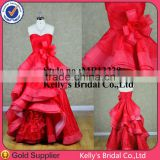 Western style strapless A-line ruched layered red wedding dresses with organza
