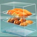high quality acrylic bread display box in display rack for baking shop factory low price