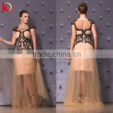 2015 New Sexy Stylish Design High Round Neck Cap Sleeve Embroidery Crystal Beads Beautiful Girls Party Dresses