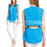 wholesale clothing OL summer blue chiffon women sleeveless blouse