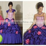 Strapless beaded appliqued ruched quinceanera dress custom-made short sleeve ball gown CWFab4214