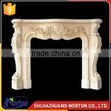 Chinese high polished white marble fireplace with cherub NTMF-F529X